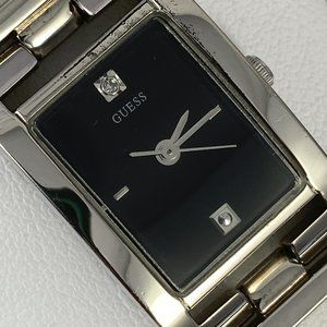 Guess Accessories - Guess Silver Tone Watch Black Face Diamond Accent